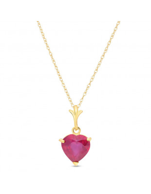 Collier coeur or 375 rubis