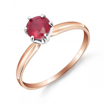 Bague couronne solitaire or rose 375 rubis