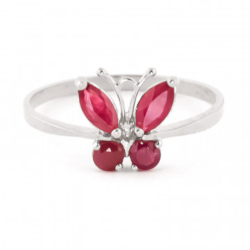 Bague papillon or blanc 375 rubis