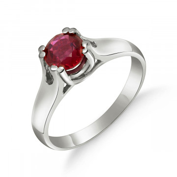 Bague solitaire or blanc 375 rubis