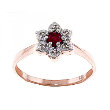 Bague Wildflower or rose 375 rubis et diamant