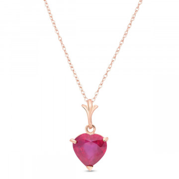 Collier coeur or rose 375 rubis