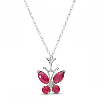Collier papillon or blanc 375 rubis