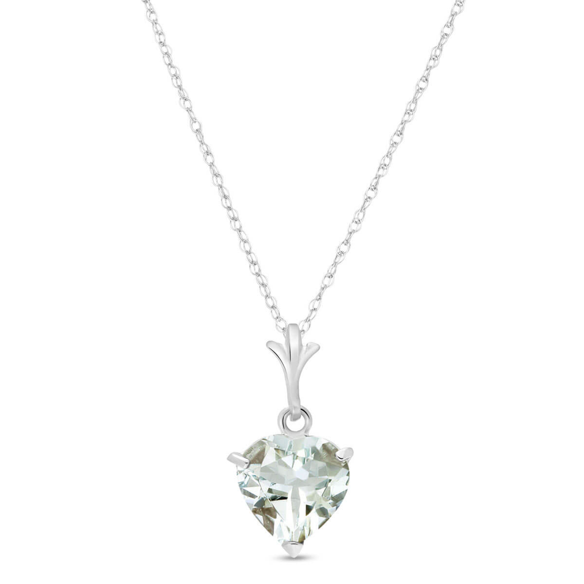Argent Sterling Aigue-Marine 7mm Coeur Solitaire Collier