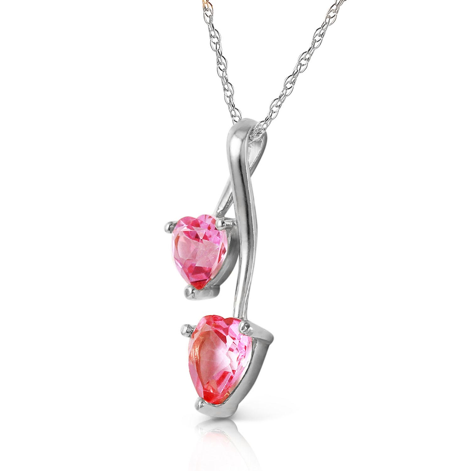 Collier or blanc 375 topaze rose