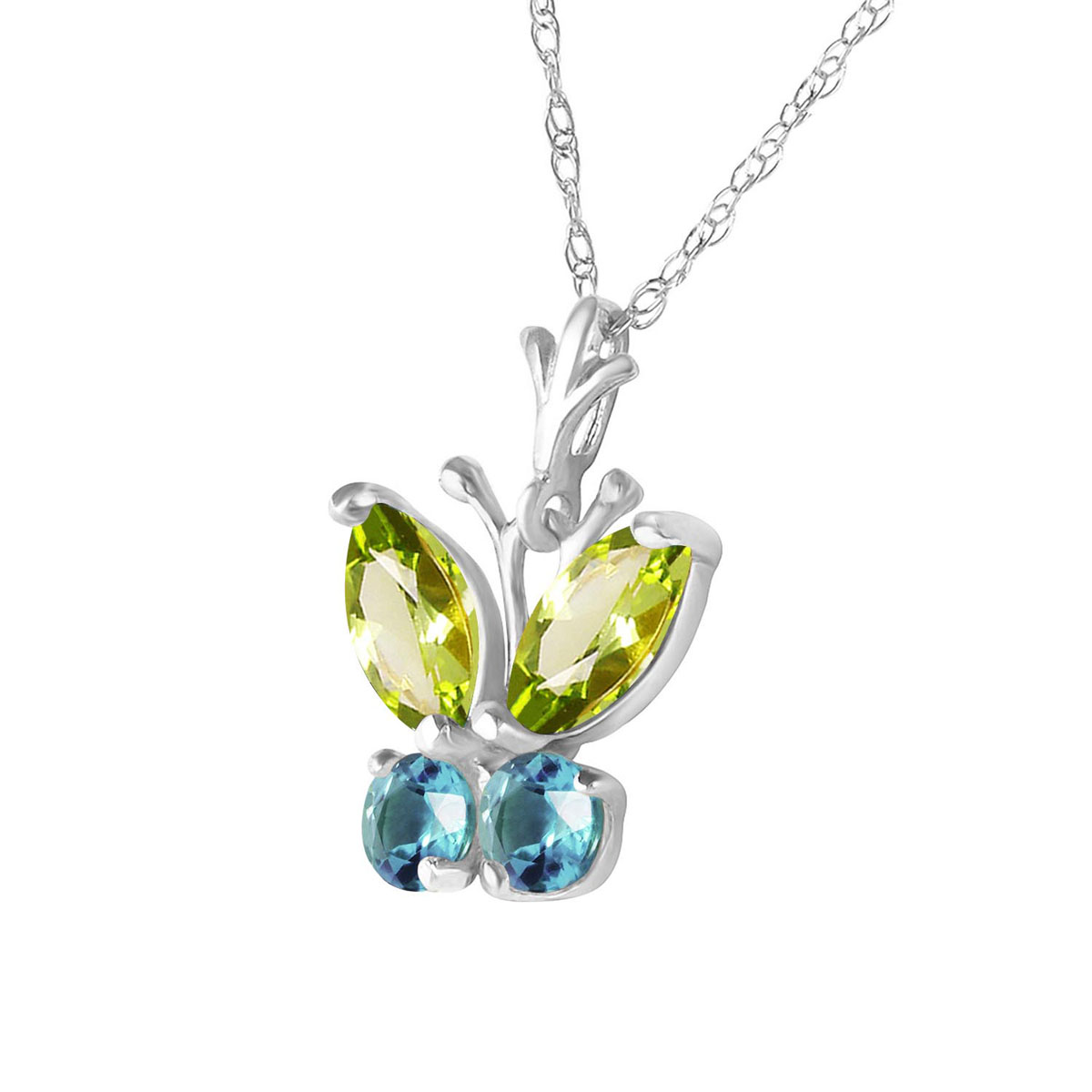 Sterling Silver Peridot et blanc Topaze Ovale Couronne Collier